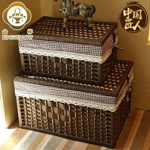 美式藤編收納筐子草編藤條編織盒長方形衣服框籃家用整理儲物箱大