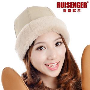 RUISENGER 高档整皮皮毛一体帽子 羊皮羊毛西瓜皮帽 冬季皮草帽子