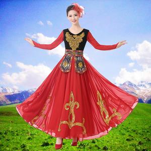 新疆舞蹈演出服新款成人维族大摆裙维吾尔族服饰少数民族服装女装图片