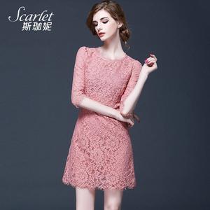 春夏新款大碼遮肚蕾絲連衣裙女夏氣質超仙洋氣有女人味的粉色裙子