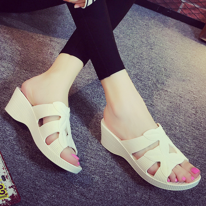 Slippers high platform shoes with outdoor outdoor mother female cool summer beach slippers wedges tourism and leisure anti-skid plastic