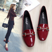 Scoop shoes female Summer hundred with patent lacquer wine Red Square head shoes woman flat bottom Small code 33-34 british large size shoes 41-43