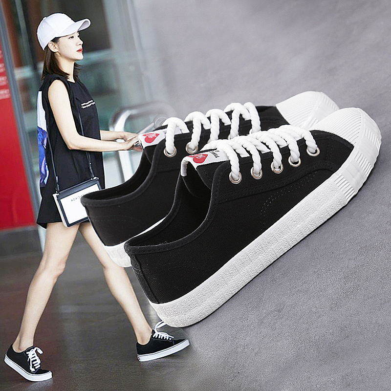 The new street girl summer white canvas shoes shoes all-match Korean 2017 new students in Hong Kong a wind ulzz