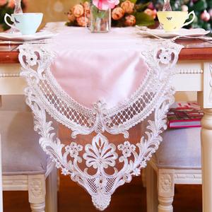 欧式新款布艺蕾丝边餐桌桌旗 公主风梳妆台装饰盖巾茶几玄关台布