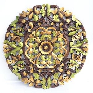 泰国柚木雕花板?#21442;?#33457;卉90cm圆形泰北玫瑰样式全可定做