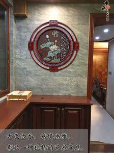 中式玄关装饰画玉石客厅餐厅走廊走道挂画浮雕画实木壁画有框墙画图片