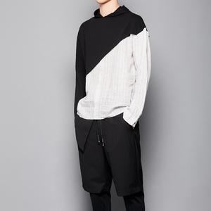 特别推荐 原创男装 日系时尚英伦休闲剪裁拼接材质暗黑卫衣打底衫