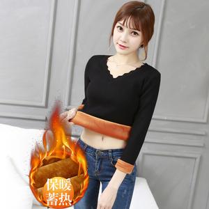 加絨加厚毛衣女修身V領短款低領內搭針織打底衫秋冬季保暖雞心領