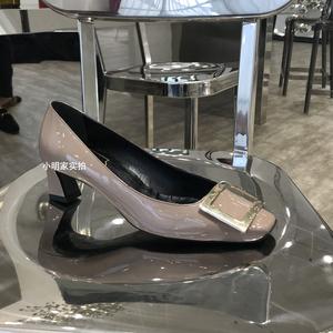 2019新款rv女鞋漆皮粗跟中跟鞋网红方头方扣单鞋细跟红色高跟婚鞋