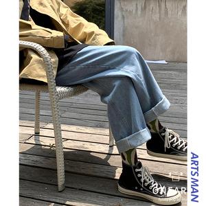 @港仔文艺男 牛仔裤男士春秋新款韩版潮流直筒裤宽松百搭九分长裤