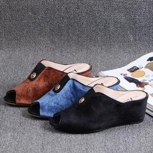 2017韩版新款天鹅绒面坡跟休闲一字型拖鞋鱼嘴百搭简约半拖女拖鞋