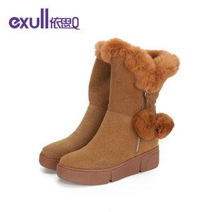 依思q女鞋冬季新款平底时尚中筒靴子圆头平底雪地靴