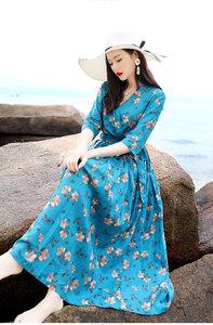 2019春季女装复古文艺波西米亚碎花修身仙女裙沙滩长款连衣裙3620