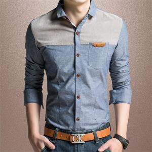 拼接短袖衬衣韩版修身纯棉青年牛仔寸商务休闲长袖衬衫男士大码潮