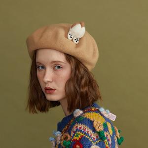 瘦瘦家羊毛氈短腿柯基肥貝雷帽女秋冬季日系百搭毛呢蓓蕾帽畫家帽