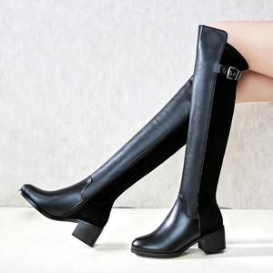 真皮弹力靴秋冬季百搭高筒靴女靴子粗跟中跟骑士靴长筒靴圆头长靴