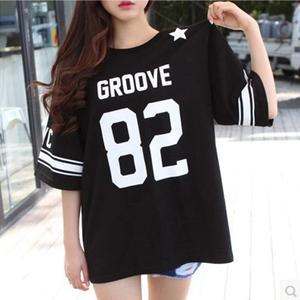半截袖中长款大款篇幅衫韩版短袖夏装宽大t恤女装大码宽松?#34892;鋞桖
