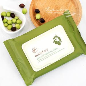 韩国悦诗风吟INNISFREE橄榄油调理保湿卸妆巾大包装30片 超级干净