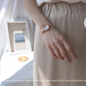 【Ms.h三四】小表盤手表女迷你小巧復古羅馬刻度細鏈條文藝手鐲表