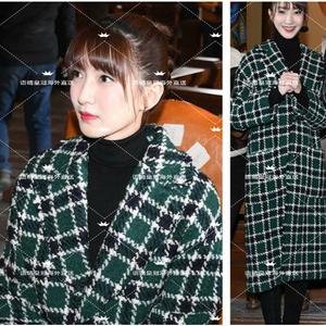 语晴法代MAJE    江疏影同款绿色格子毛呢大衣韩版呢子外套