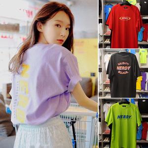 韓國代購nerdy短袖t恤男女2020年新款夏寬松小熊上衣中長款紅紫色