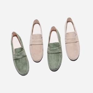 简步 2018春季新款文艺复古简约羊皮平底舒适乐福鞋英伦女单鞋