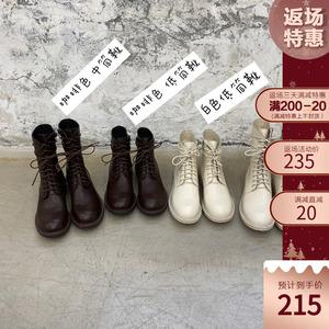 迷失麋鹿 复古棕色短靴2019秋冬新款加绒ann马丁靴白酷街头机车靴