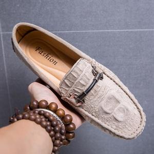香港代購鱷魚紋豆豆鞋男真皮軟底夏季透氣懶人鞋潮流韓版休閑皮鞋