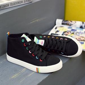 人本春季高帮帆布鞋糖果色平底女鞋布面休闲鞋韩版系带单鞋学生鞋