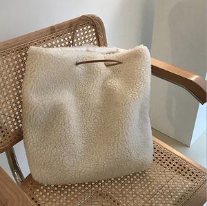 韩国2018秋冬新款人造羊羔毛毛绒手提包购物袋大包单肩大容量女包