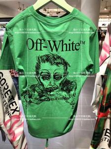专柜代购OFF WHITE 19SS春夏新款f刺绣人像吸血鬼短袖OW男女T恤OS