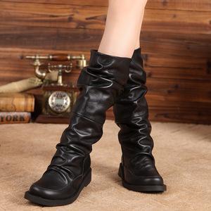 個性長靴頭層牛皮女靴真皮復古褶皺高筒靴套筒騎士靴2018秋冬新款