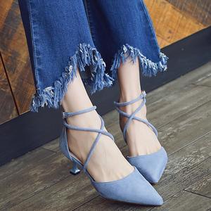 高跟鞋细跟5cm跟一字扣