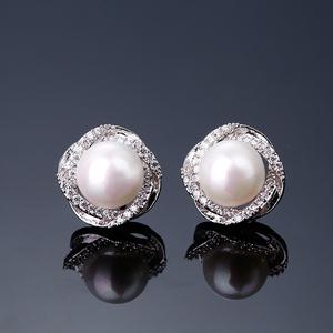 珍珠耳钉 925纯银镶钻耳环女日韩国时尚气质简约个性防过敏耳饰品