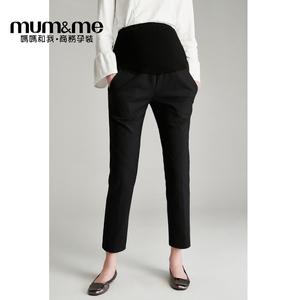 mumme孕妇职业装西裤2019新款可调节托腹裤直筒裤秋季外穿长裤