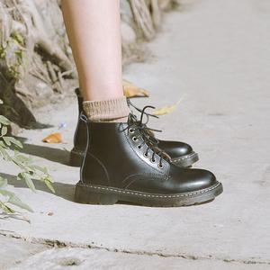 敘舊英倫風小皮鞋真皮高幫短靴子單鞋圓頭秋冬季加絨複古馬丁靴女