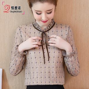 2019年秋冬季新款长袖蕾丝女装 加绒加厚内搭上衣洋气打底衫t恤潮