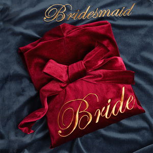 春秋冬结婚晨袍红色新娘伴娘伴手礼金丝绒婚庆化妆可定制刺绣睡袍