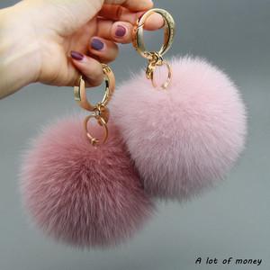 13cm超大狐狸毛球包包挂件汽车钥匙扣女可爱创意真毛绒书包挂饰品
