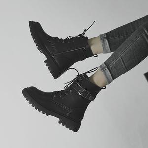 黑色馬丁靴女2019新款英倫風百搭大碼靴子秋冬季加絨粗跟短靴帥氣