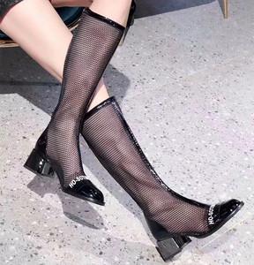 欧洲站女鞋2019夏新款女靴子真皮镂空网纱粗高跟高筒长靴凉靴网靴