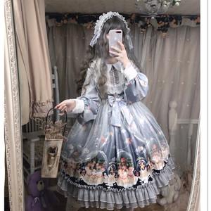 逗醬原創Lolita圣誕水晶球雪人復古宮廷緞面反光灰秋冬長袖連衣裙