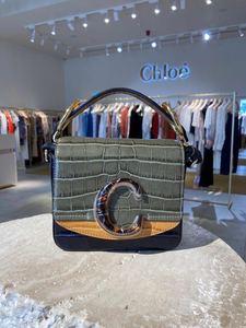 英國代購Chloe19秋冬女士全皮鱷魚紋玳瑁C Bag翻蓋mini斜挎手提包