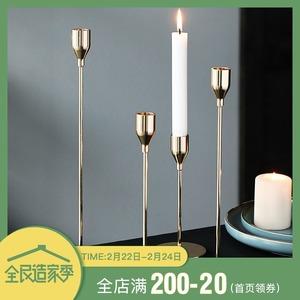 半房杂货欧式金属烛台装饰品摆件浪漫节日烛光晚餐高脚蜡烛香薰架