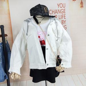 韩版宽松BF风牛仔外套女秋装新品短款白色带帽破洞毛边牛仔上衣潮