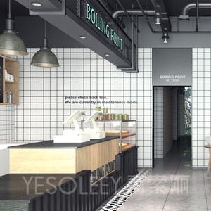 现代简约ins风墙纸网红黑白格子壁纸奶茶店面服装店铺装修背景墙