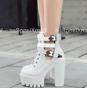 韩版超高跟14CM短靴粗跟女靴子防水台厚底春秋季朋克皮带扣单靴潮