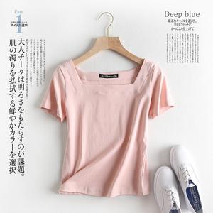 MMFS外貿出口尾單商場撤回女裝剪標尾貨專柜露鎖骨方領短袖T恤女
