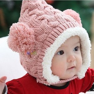 韩版秋冬新款 婴儿帽 麻花双球童帽 儿童冬季护耳帽 宝宝加绒帽子