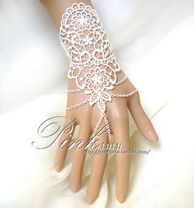 白色多層流蘇蕾絲手鏈腕飾新娘連戒指手套滿手背花朵婚禮06